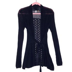 Knitted & Knotted Navy Blue Long Belted Cardigan S